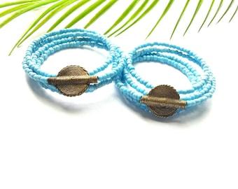 African seed bead bracelet cuff-Maasai bracelet cuff// lime green bangle set// The Azul bracelet