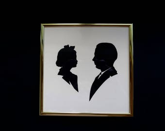 Vintage Father Daughter Silhouette Portraits Brass Metal Frame w/ Glass  Small 7 x 7 inch Size  Mid Century Family Memento