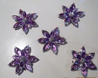 Purple rhinestone flowers for jewelry making, or sewing