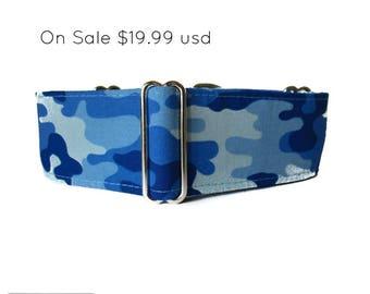 Blue Martingale Collar, 2 inch Martingale Collar, Camo Martingale, Greyhound Collar, Blue Dog Collar, Camo Dog Collar