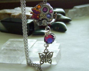Vintage Mechanical Watchworks Butterfly Crystal Pendant Necklace