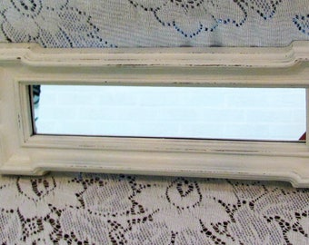 Wall Mirror, Shabby Chic Antique White Mirror, Vintage Homco Oblong Mirror