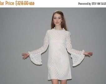 On SALE 35% Off - 1960s Vintage Boho Angel Sleeve Ivory Lace Wedding  Dress - Short Boho Lace Dress -  Lace Wedding Dress -   WD0625