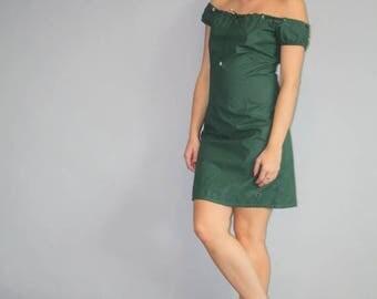 FLASH SALE - Rare Vintage 90s Tommy Hilfiger Iconic Raincoat Farbic Military Off the Shoulders Short Dress - Tommy Hilfiger Dress - - W00028