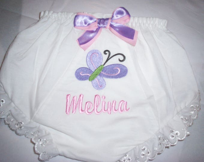 Butterfly Baby girl diaper cover - Personalized Baby Bloomers - Butterfly personalized bloomers - Baby shower gift - Baby Girl Bloomer