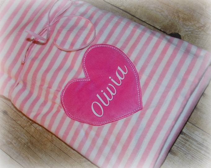 Baby girl personalized blanket - pink blanke - Heart and stripes - Baby girl shower gift - blanket - personalized gift - minky girl blanket