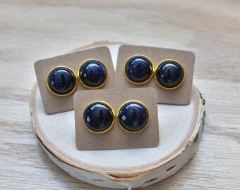 20% EARRING STUD SALE Gold Round Blue Goldstone Bezel 14mm Stud Earrings/ Blue Goldstone Large Round Cabochon Gold Studs/ Natural  Gemstone