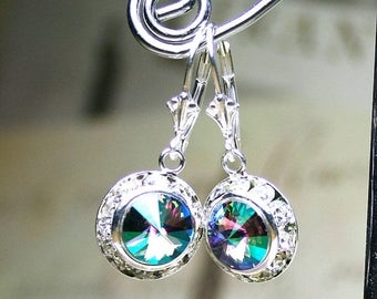 ON SALE New Swarovski Color - Crystal Paradise - Crystal Halo Earrings in Crystal Paradise - Sterling Silver Leverbacks