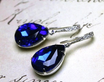 ON SALE Sapphire Blue Vintage Jeweled Earrings - Something Blue - Sterling Silver and CZ Earwires with Royal Blue Jewels