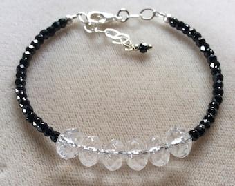 Herkimer diamond bracelet with black tourmaline and .925 silver