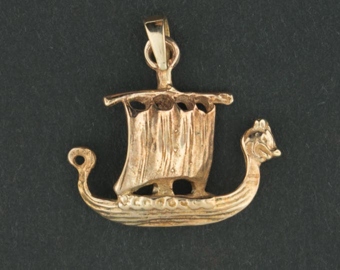 Viking Long Ship Pendant in Antique Bronze