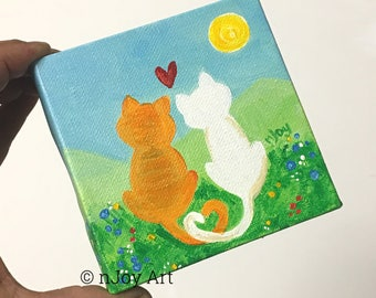Love Cats, whimsical romantic cat painting, 6x6 inch acrylic art