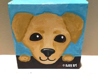 Whimsical dog painting, 4x4 inch acrylic art