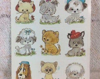 SUMMER SALE Vintage Animal Sticker Sheet Adorable Cats and Puppies Kittens Cute Collectible Kids Sticker Collection