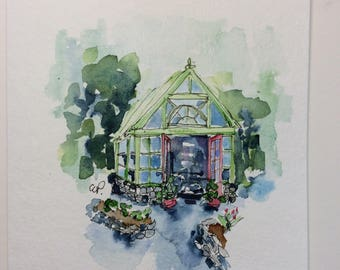 Greenhouse  Watercolor Card  / Hand Painted Watercolor Card