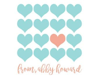 Multi Heart Turquoise, Valentine's sticker, Square Stickers, Personalized Stickers, Custom Stickers, Name Stickers, holiday stickers