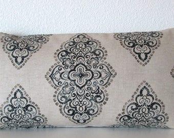 Damask Monroe Blend Mercury Oatmeal Pillow Cover - lumbar -throw pillow or body pillow cover