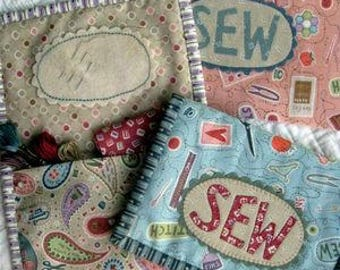 "Primitive Folk Art ""SEW Project Pouch""  Pattern:  Design by Hatched and Patched"
