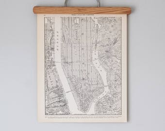Antique 1930s Map of Lower Manhattan   Downtown New York City Map   Antique city map print in black and white, circa 1936