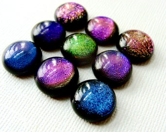 Dichroic Fused Glass Cabochons 13 to 14 mm Lot of 9