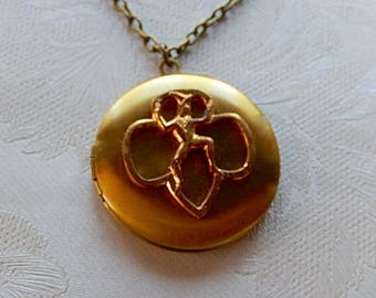 Girl Scout Brownie Locket,  Repurposed Jewelry, Locket Necklace, Sentimental Jewelry,  Gift for Her