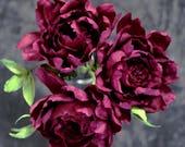 Paper Peony Bundle - Dark Burgundy Crepe Paper Flowers