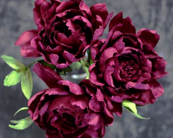 Paper Peony Bundle - Dark Burgundy Crepe Paper Flowers