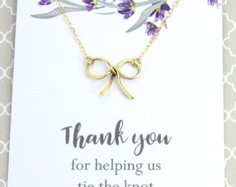 "Wedding Jewelry Gift, Bridesmaid Ribbon Necklace, Bridal Wedding Gift, "" Thank you for helping us tie the knot"" Message card Jewelry"