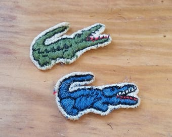 Vintage Patch Lot Mini Lacoste Alligator Blue & Green Patches 70's 80's Fashion Collectible Preppy Polo Shirt