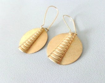 Swirl brass earrings, deco earrings, disk earrings