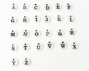Add on initial charm-Personalized initial charm-Silver initial tag-Monogram charm-Alphabet charms-Alphabet letters tag-Letter charms