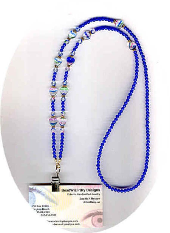 Vintage Glass Japanese Royal Blue beads and Art Glass Hearts & Rounds Beaded  ID Badge Lanyard or Eyeglass Chain