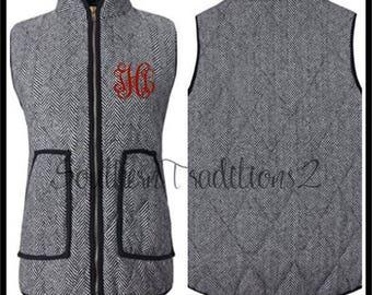 Monogram Herringbone Vest - Ladies Herringbone Monogrammed Vest - Monogrammed quilted Vest