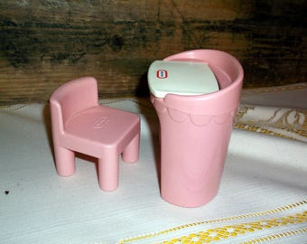 Vintage 1990's Little Tikes Dollhouse Doll House size Furniture Vanity with MIrror and Pink Chunky Chair