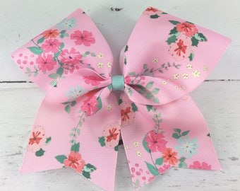 1 Cheer Bow, Girls Large Cheer Bow, Floral Print Cheer Bow, Vintage Floral Bow, Light Pink Floral