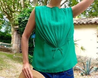 Calypso French 1960s green pleated bow blouse sz M