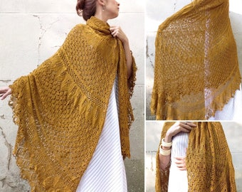 Swedish VTG 1970s safron silk maxi shawl / silk crochet shawl