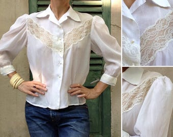 French 1930s / 1940s ivory rayon lace Exquisite Blouse / shirt buttons