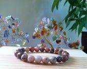 "Handmade Genuine Lepidolite  Bracelet, Natural Lepidolite Gemstone Stretch 7.25"" Bracelet,Protection, Calming, Success in Business Bracelet"