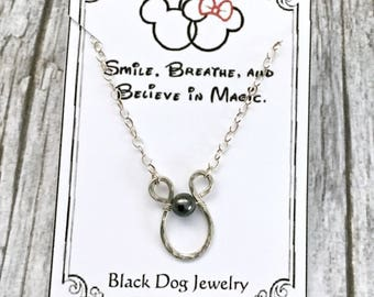Sterling Silver Wire Wrapped Horseshoe Charm Necklace  -  Minimalist Jewelry - Disney Inspired Gift for Her