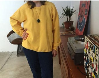 final 2017 MASSIVE SALE Canary Crew Neck | classic 80s vintage athletic pullover sweatshirt unisex 1980s retro yellow orange soft worn large