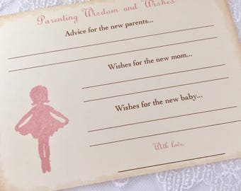Parenting Advice Cards Ballerina Baby Shower Activity Game Cards Set of 10