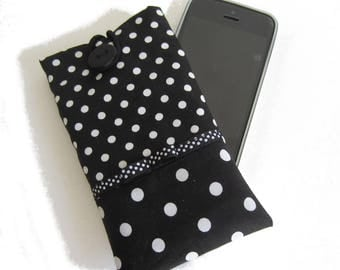 Case for black and white dot bow, smartphone pouch