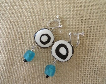 Drop Earrings With Kenyan Cow Bone And Ghana Glass Beads