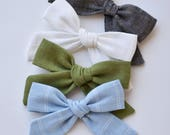 You CHOOSE color Linen Medium size |Abby bow| Headband or clip baby shower gift Photography prop headband or clip