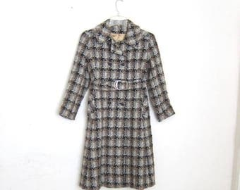 20% Off Sale Houndstooth Coat 1960s Mod Woven Wool Belted Peacoat Belted Ladies Size Small