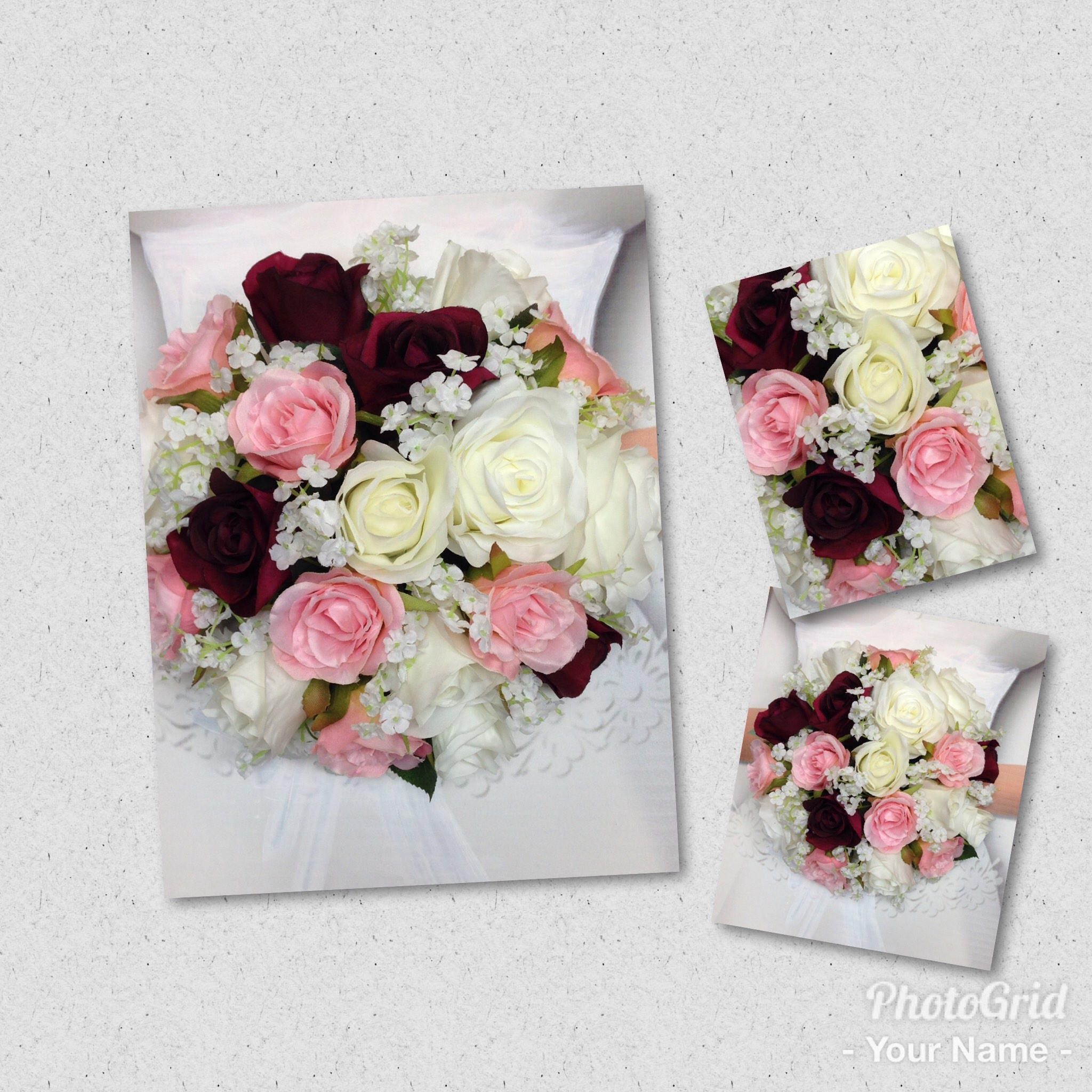 New Artificial White Wine And Blush Wedding Bouquet 9 In Diameter Babys Breath Bridal With Roses