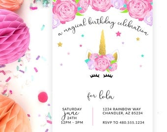 Unicorn Printable Party Invitation - Birthday or Baby Shower - Make & Do Parties