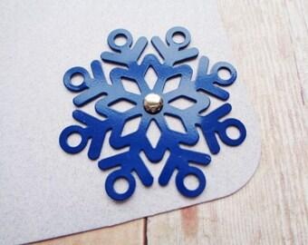 Snowflake Tags Blue Christmas Gift Tag Metal Snowflakes Embellishments