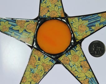 Vintage Spring Star- Liberty of London fabric lacquered on glass points. 10 inch star with art glass cabochon center. Daffodil star